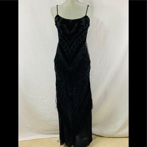 Aris A. black silk & floral velvet maxi slip dress